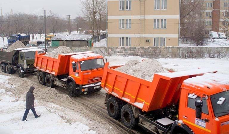 Вывоз снега Камазами